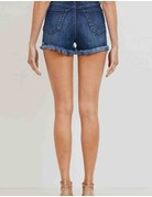 Hi Rise Denim Shorts W/ Lace
