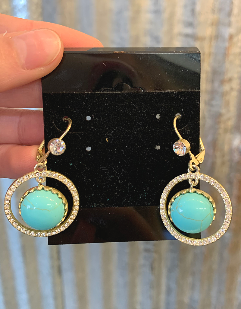 Circle Earrings w/stone center