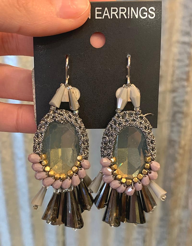 Oval drop Crystal earrings w/tassels