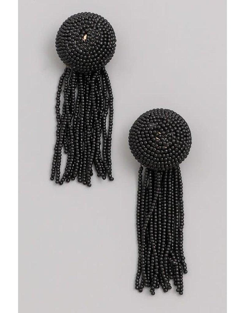 Large Micro Beaded Tassel Fringe Earrings