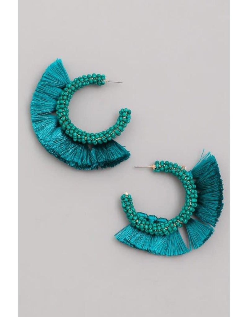 Beaded Tassel Hoop Earrings