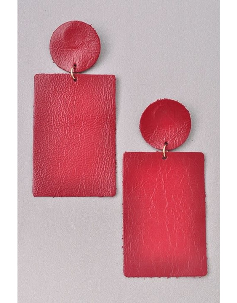 Square Leather Earring