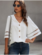 Flare Sleeve Button Up Blouse