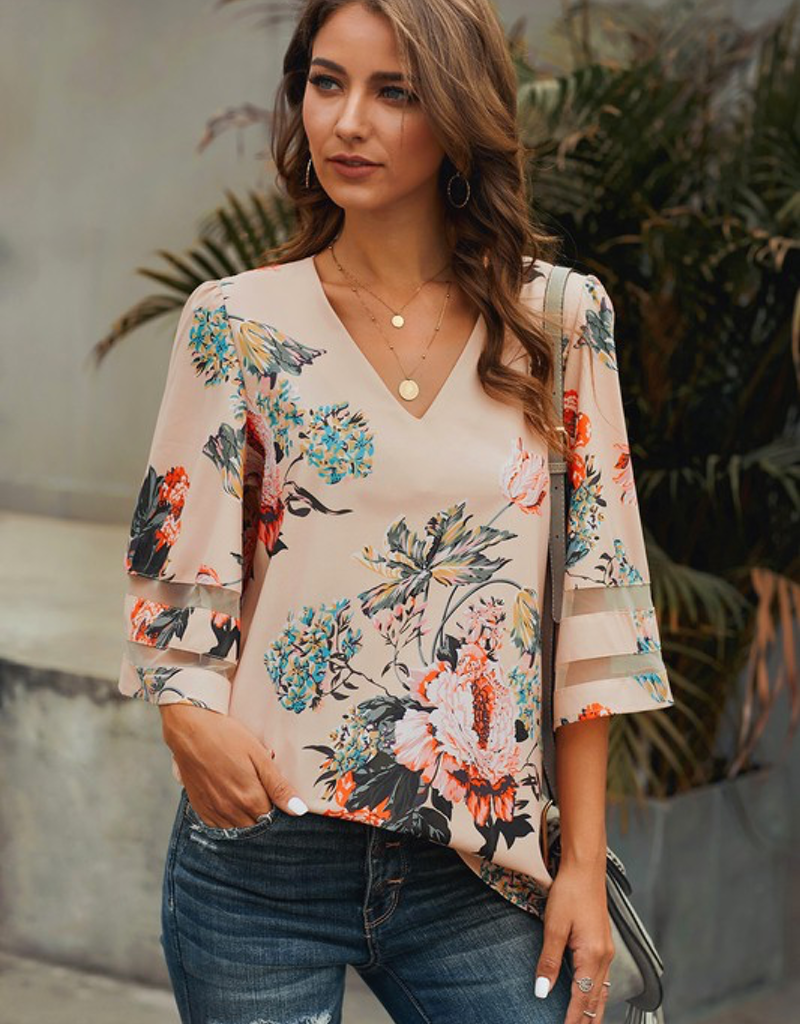 3/4 Flared Sleeve Floral Blouse