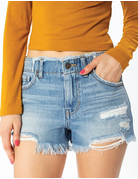 High Rise Frayed Hem & Waist Short