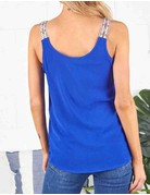 Solid Woven Front Button Tank W/Aztec Strap