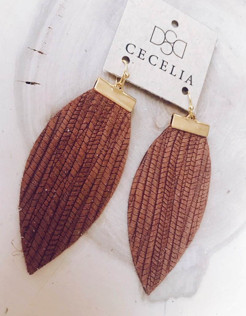 Embossed Brown Bar Leather Earrings