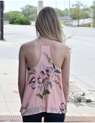 Flower Print Racer Back Tank Top