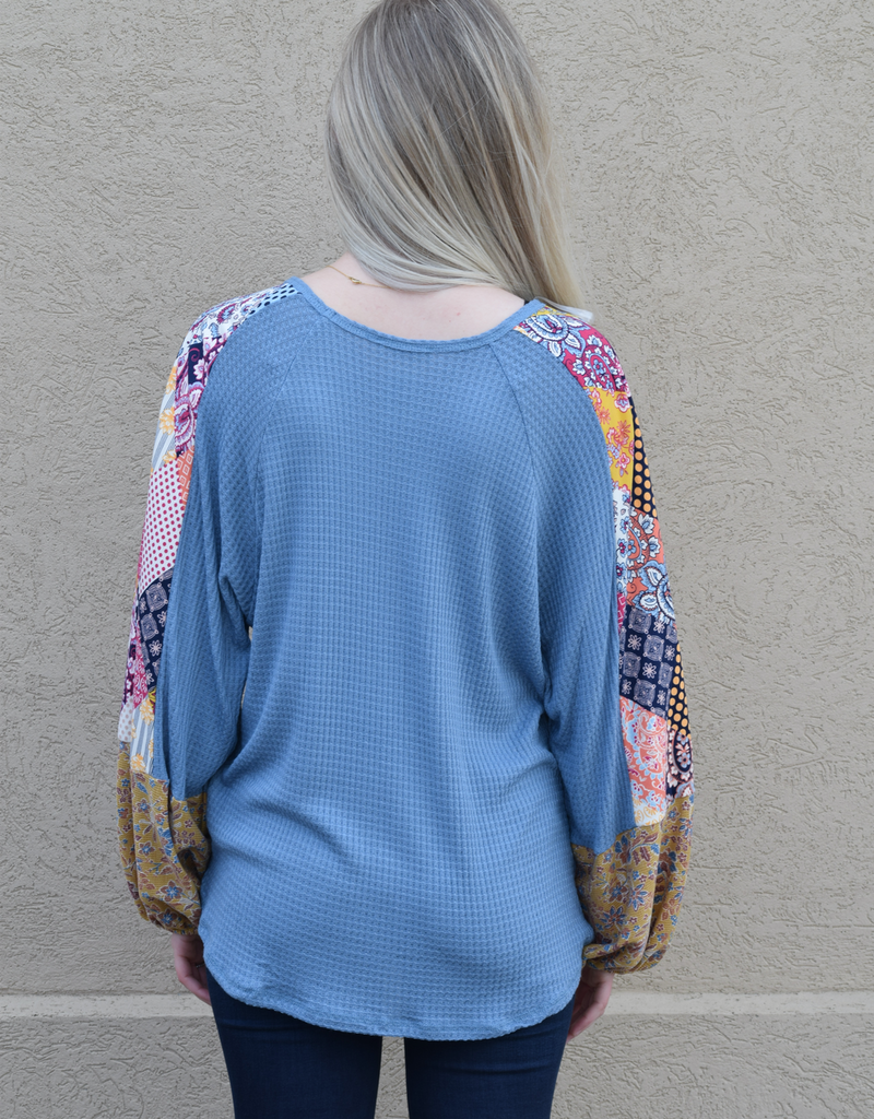 Mix Print Bubble Sleeve Knit Top
