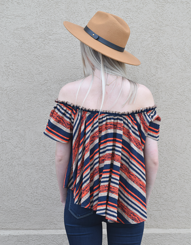 Off The Shoulder Stripe Woven Top