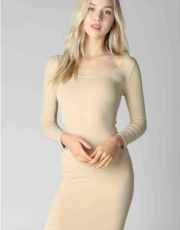 3/4 Sleeve Scoop Neck Dress