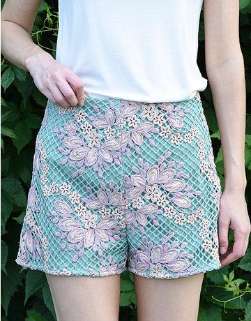 Crochet Mesh High-Waist Shorts