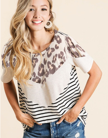 Striped Top With Leopard Contrast