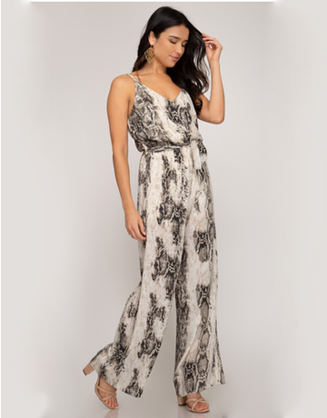 Sleeveless Snake Skin Printed Jumpsuit