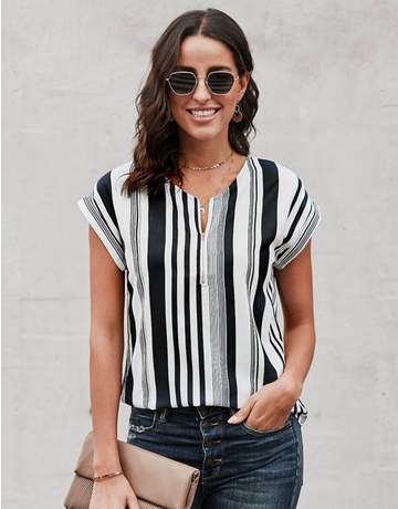 V Neck Striped Short Sleeve
