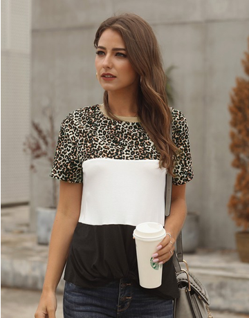 Color Block Leopard Tee
