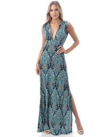 Plunging Neckline Side Slit Maxi Dress