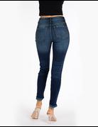 High Rise Hem Detail Ankle Skinny Jeans