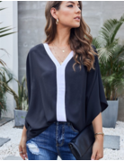 Contrast Color V Neck Blouse Top