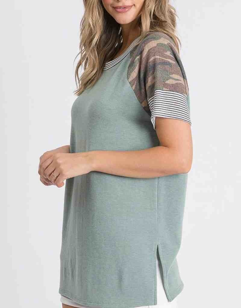 Camo Contrast Top W/ Stripe Detail