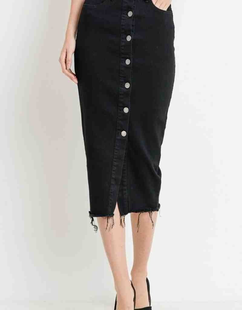 High Waist Button Down Long Skirt