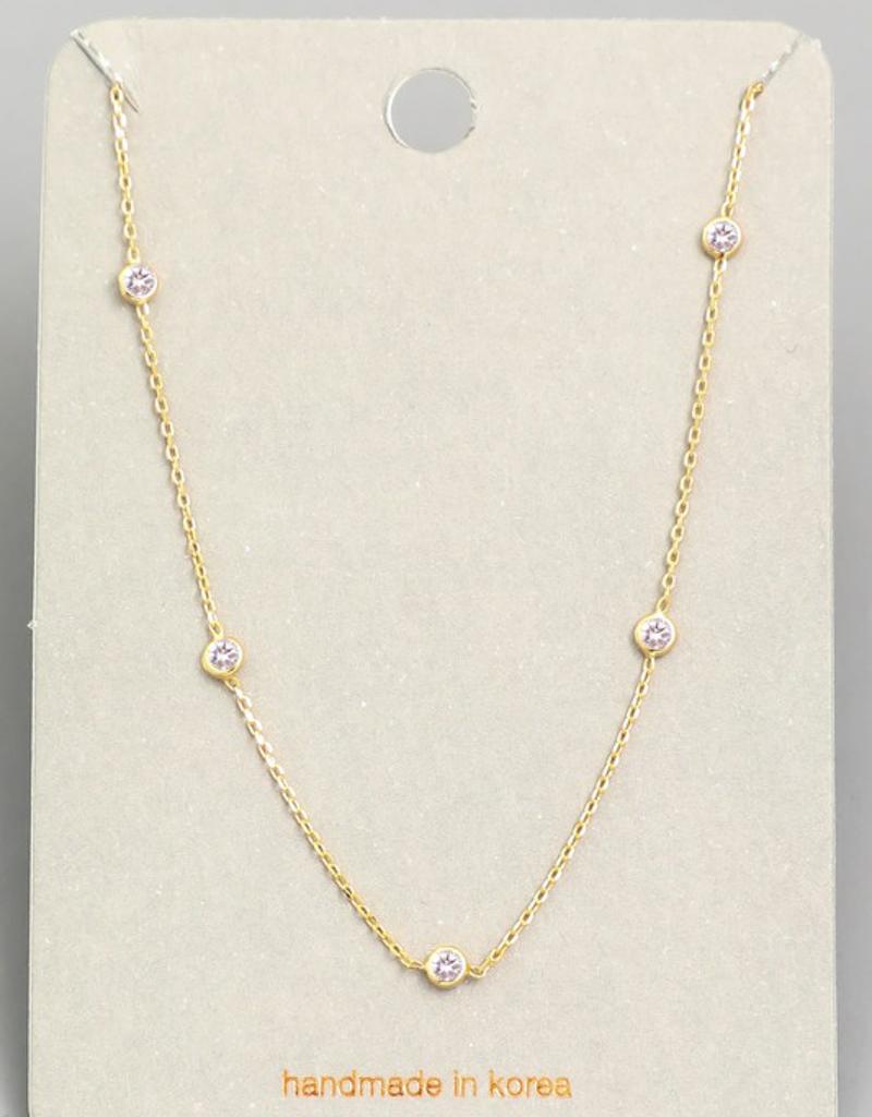 Dainty Chain Mini Stud Necklace