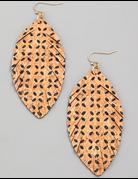 Cork Texture Leaf Earrings