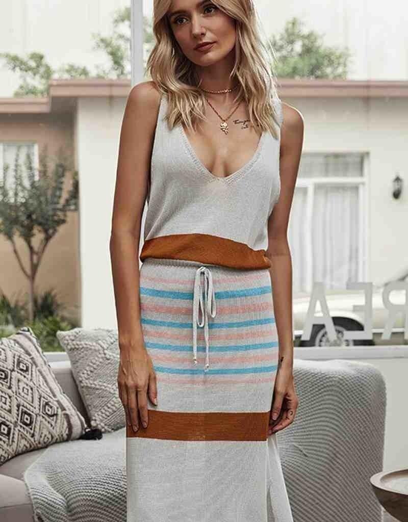 Stripe Multicolor Midi Dress