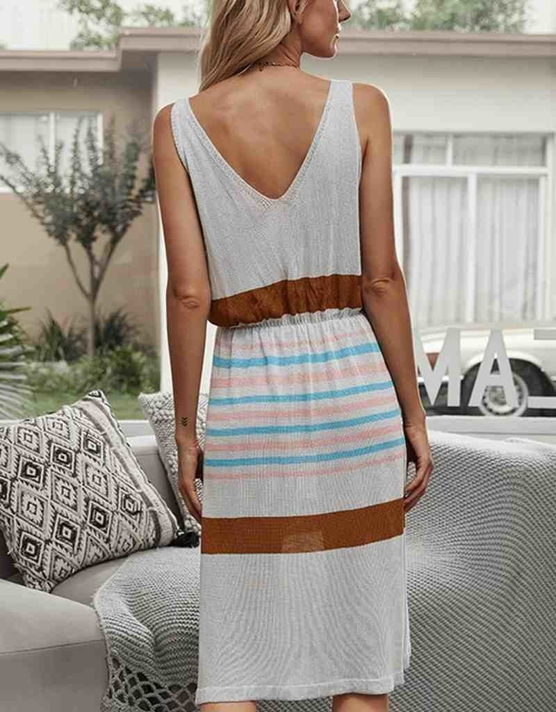 Stripe Multicolor Midi Dress