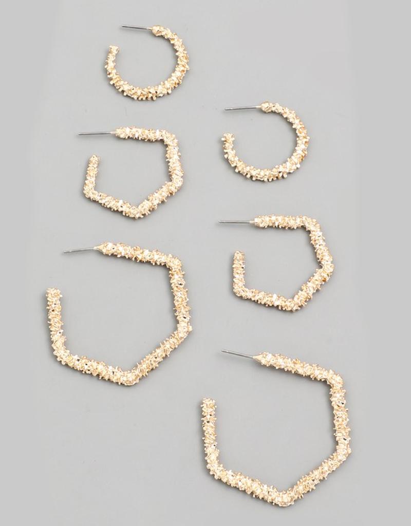 Textured Geo Hoop Earrings