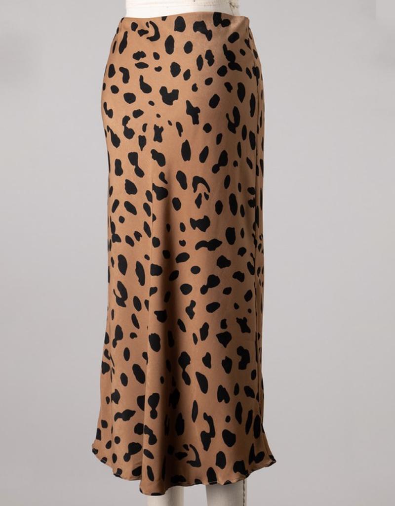 Animal Print Woven Midi Skirt