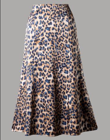 Animal Print Satin Skirt