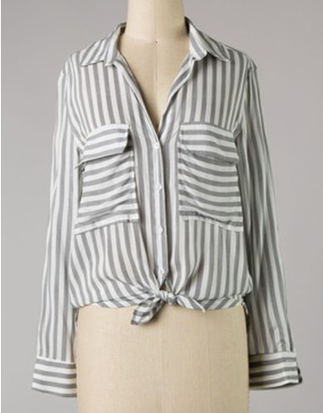 Striped Woven Collared Long Sleeve