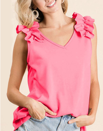V Neck Top With Ruffle Sleeve