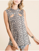 Leopard Print Thermal Neck Top