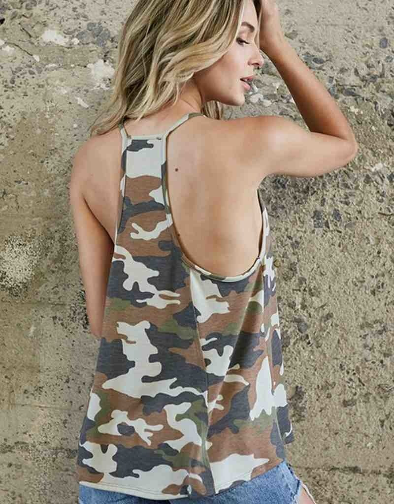 Camoflage Print Racer Back Tank Top