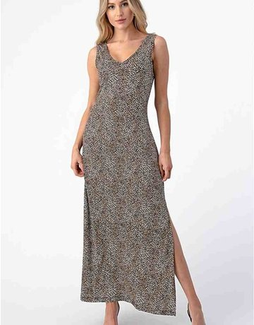 V-Neck Maxi Dress W/Slit