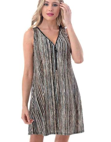 Striped Tank Zipper Dress