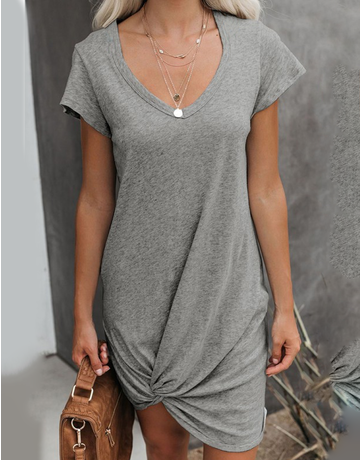 Side Knotted T-Shirt Dress