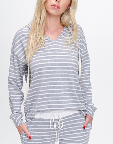 Striped Knit Sweater With Hoodie