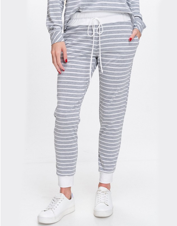 Striped Knit Joggers With Pocket