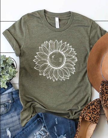 White Sunflower Graphic Tee