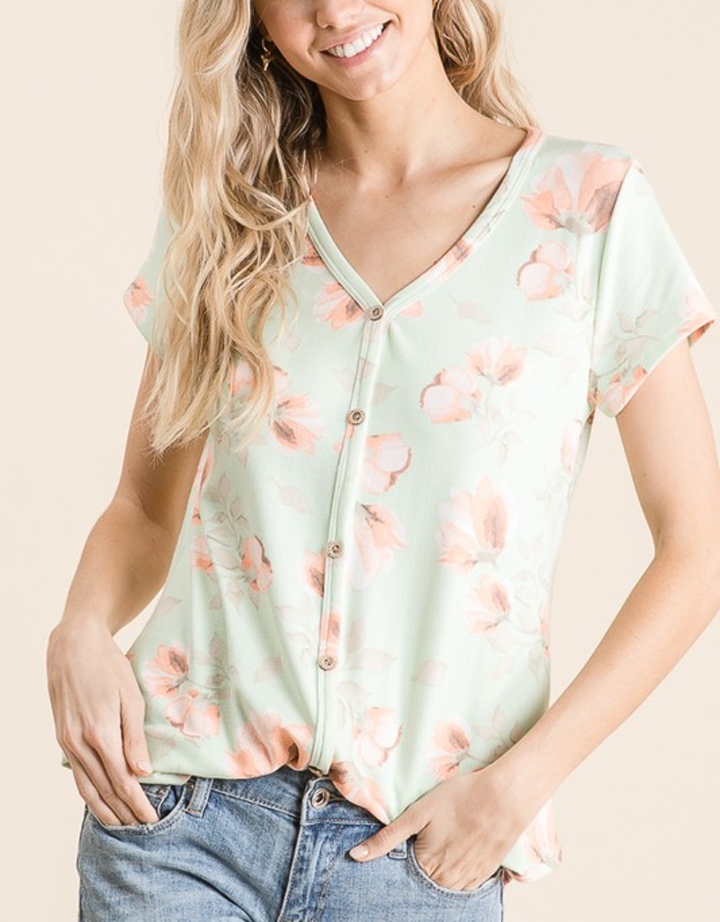 Floral Print Button Up Top