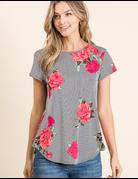 Casual Floral Print Top