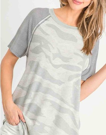 Camo Striped Short Sleeve Top W/Round Neck Line