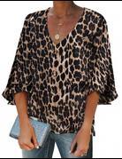 Leopard Print Button Down Blouse