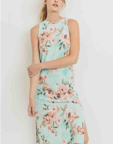 Floral Print French Terry Sleeveless Midi Dress