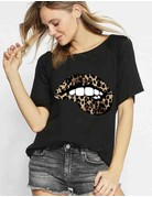 Loose Fit Cheetah Lips Graphic Tee