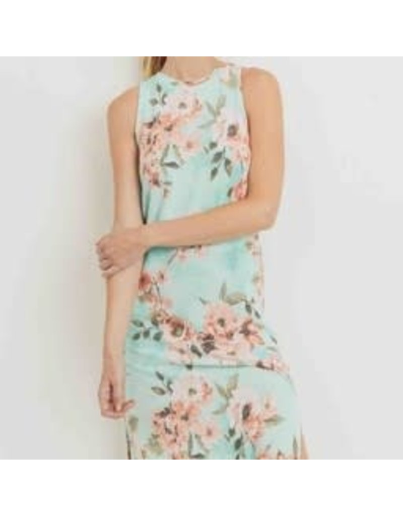 Floral Print French Terry Sleeveless Midi Dress