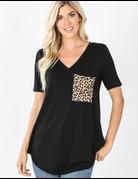 Short Sleeve V-Neck Leopard Pocket Top